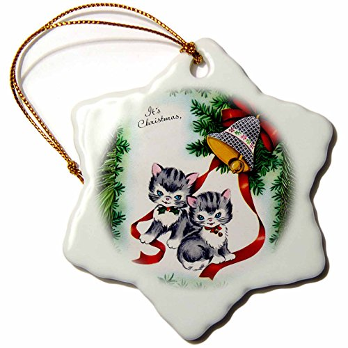 3dRose Cartoon of Pine Tree Christmas Bell Ornament and Two Kittens  - Snowflake Ornament, Porcelain, 3-inch (orn_172779_1)