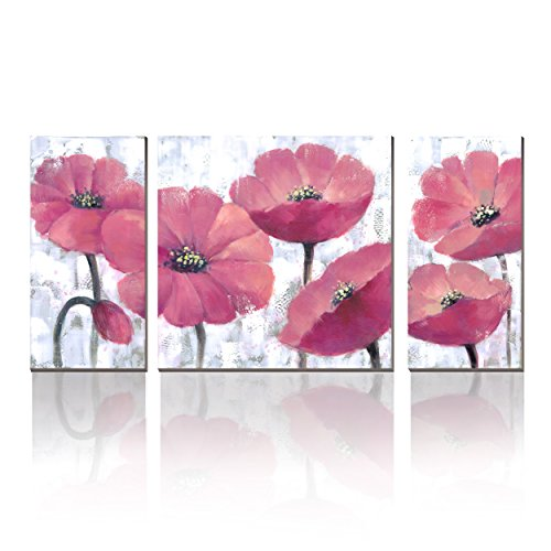 Canvas Art Prints Modern 3p Art Deco Pink flower Paintings Printed Pictures on Canvas Wall Art for Home Décor (Canvas Deco Print Art)
