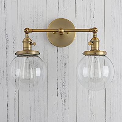 Permo Vintage Industrial Antique 2-lights Wall Sconces with Dual Cone Clear Glass Shade