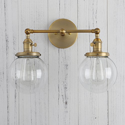 Permo Double Sconce Vintage Industrial Antique 2-Lights Wall Sconces with Dual Mini 5.9'' Round Clear Glass Globe Shade (Antique) by PERMO (Image #5)