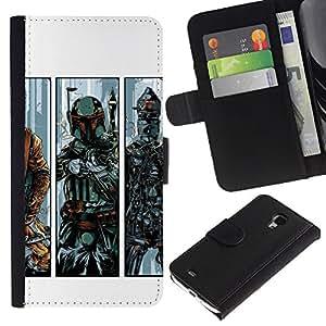 LECELL--Cuero de la tarjeta la carpeta del tirón Smartphone Slots Protección Holder For Samsung Galaxy S4 Mini i9190 -- B0Bba Fett - Bounty Hunter --