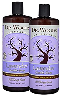 Dr. Woods Pure Lavender Castile Soap with Organic Shea Butter, 32 Ounce (Pack of 2)