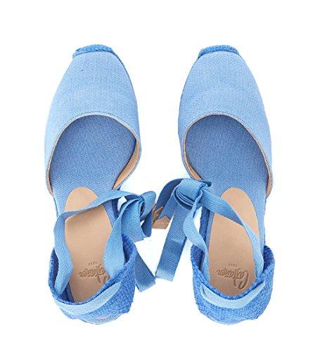 Naturjute Canvas Castañer Blau Aus Sandalo Carina Bleu Con Zeppa in xw7UX7qYg