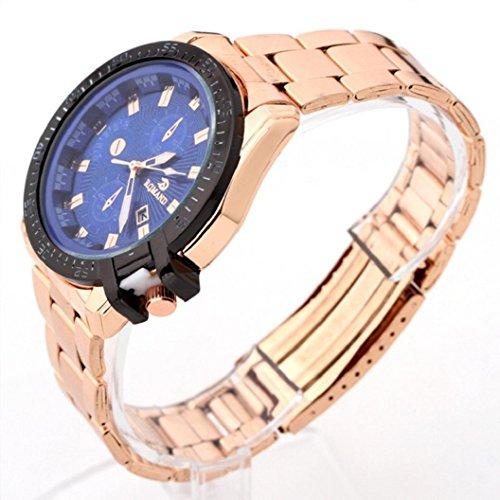 Kinrui Luxury Mens Black Dial Gold Stainless Steel Date Quartz Analog Sport Wrist Watch (Model B)