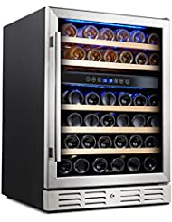 Kalamera 24'' Wine refrigerator 46 Bottle Dual Zone Built-in and Freestanding with Stainless Steel & Triple-Layer...
