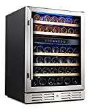 Appliances : Kalamera 24'' Wine refrigerator 46 Bottle Dual Zone Built-in or Freestanding with Stainless Steel & Triple-Layer Tempered Glass Door and Temperature Memory Function