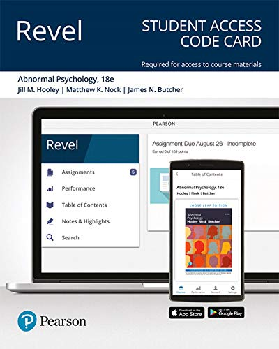 Hooley Revel for Abnormal Psychology    Access Card (18th Edition)
