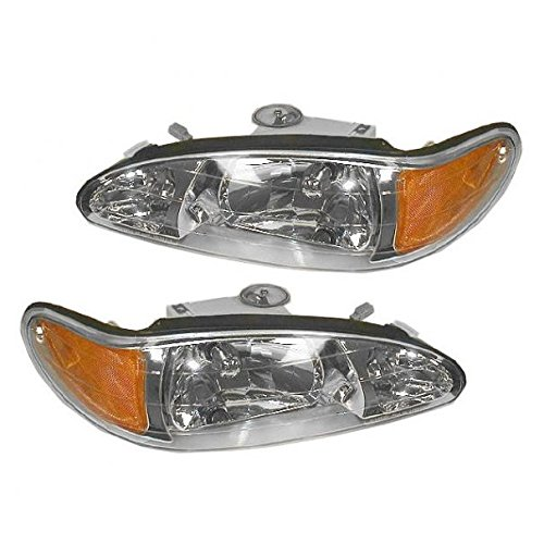 Headlights Headlamps Left & Right Pair Set for 98-02 Ford Escort Tracer