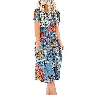 DB MOON Women Summer Casual Short Sleeve Dresses Empire Waist Dress with Pockets (Flower Mix Blue, L)