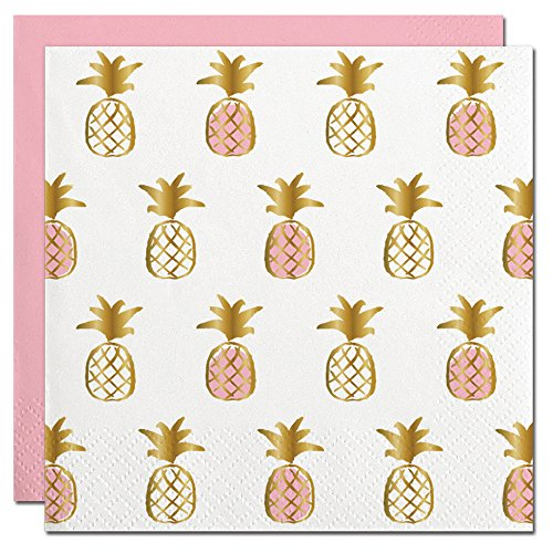 Pineapple Foil Design Cocktail Party Napkins – 20 Count Review