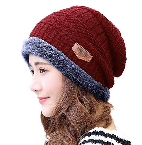 - HINDAWI Womens Slouchy Beanie Winter Hat Knit Warm Snow Ski Skull Cap (Hat_(Burgundy))