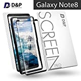 Galaxy Note 8 Screen Protector Tempered Glass Full Coverage Front and Back, D&P Note 8 Screen Protector Case Friendly, Edge Adhesive 3D Curved Glass Screen Protector with Installation Tray