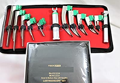 New Premium Led Bright Light Set Of 10 German Fiber Optic Mac & Miller Laryngoscope Blades + 2 Handle Intubaton A+ Quality