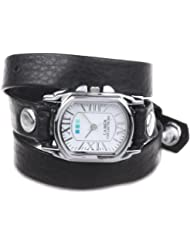 La Mer Collections Womens LMCHATEAU1007 Black Silver Chateau Wrap Watch