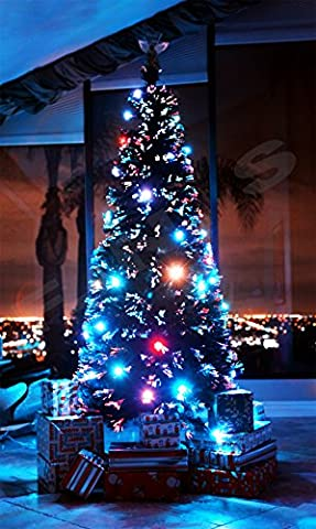 8 FT ARTIFICIAL GREEN PRE-LIT MULTI COLOR LED FIBER OPTIC EIGHT FEET CHRISTMAS TREE WITH ANGEL (Castle Season 2 Instant)