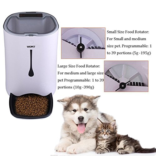WOPET Automatic Pet Feeder Food Dispenser for Cats and Dogs-Features: Distribution Alarms, Portion Control, Voice Recorder, Programmable Timer for up to 4 Meals per Day