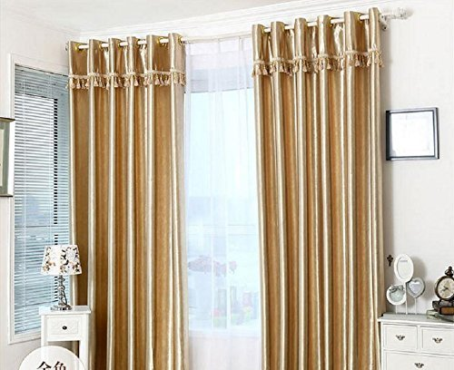 Luxury Gold Rose Embossing Pattern Blackout Insulated Window Treatments Drapes Curtains Set of 2 Panels 51 x 86 inch by Comforbed