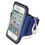 iGadgitz Blue Reflective Anti-Slip Neoprene Sports Gym Jogging Armband for Apple iPhone SE, 5S, 5, 5C