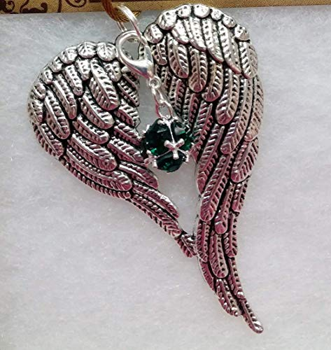 - May Birthstone Angel Wings Memorial Ornament