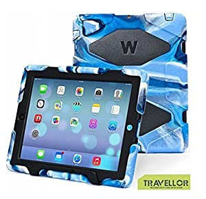 New Hot Item Ipad 2/3/4 Case Winpartner Travellor Silicone Plastic Dual Protective Back Cover Kid Proof Extreme Duty Case Standing Case for Ipad,ipad 4,ipad 3,ipad 2 Rainproof Sandproof Dirtproof Shockproof- Multiple Color Options (Navy-Black)