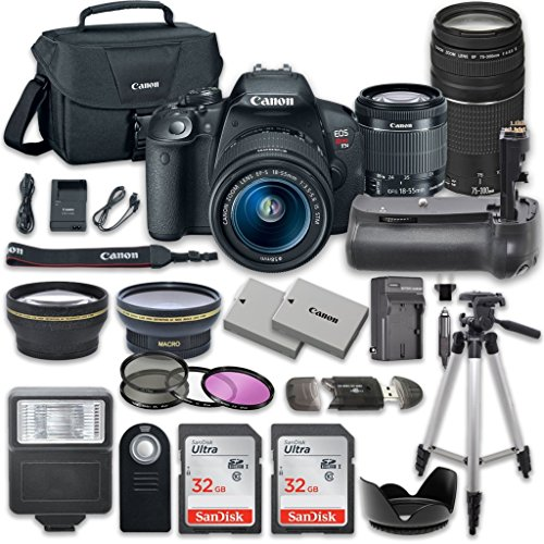 Canon EOS Rebel T5i DSLR Camera with Canon EF-S 18-55mm f/3.5-5.6 IS STM Lens + Canon EF 75-300mm f/4-5.6 III Lens + 14pc Accessory Kit from 33rd Street Camera