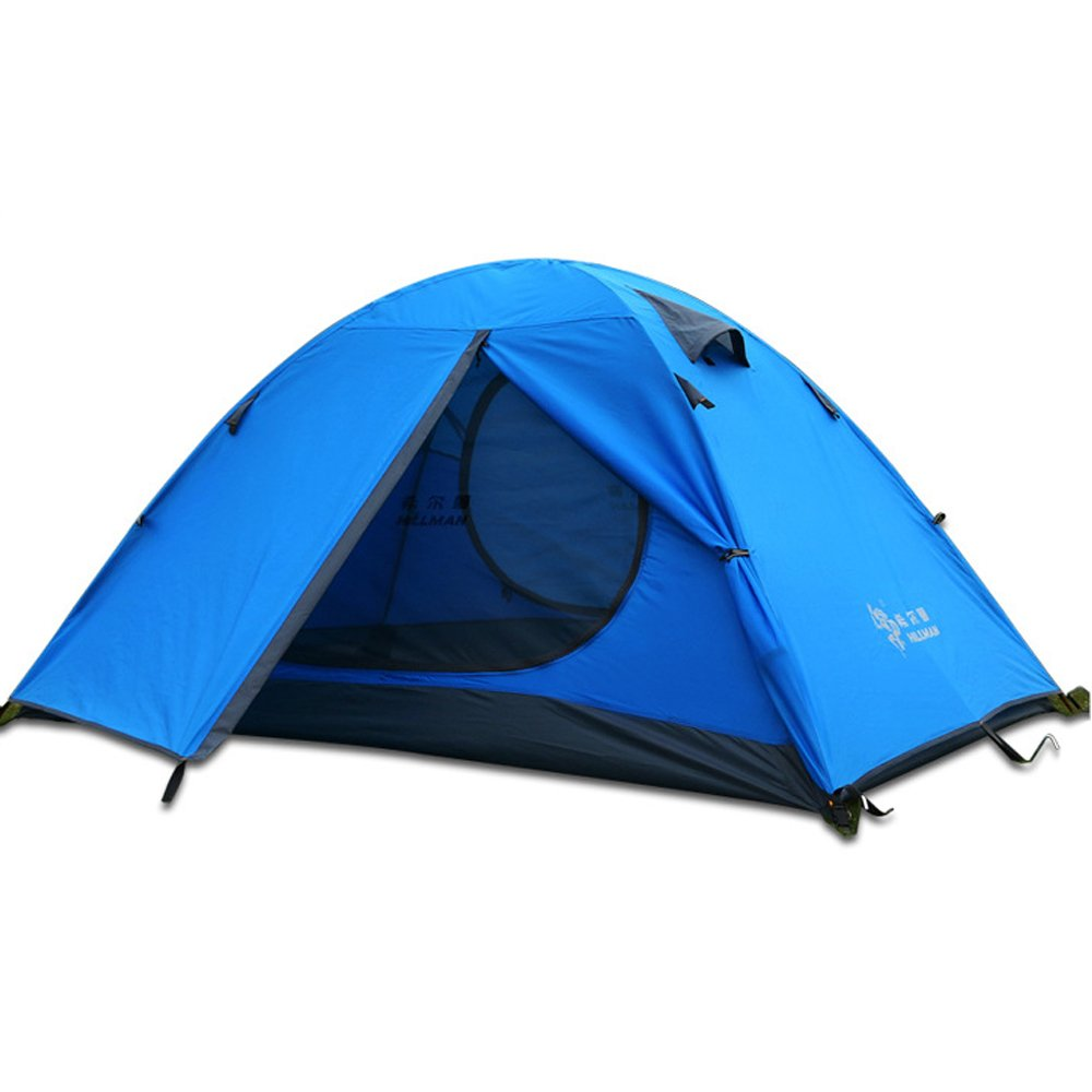 HILLMAN 3 Season 3-Person Double Layer Waterproof Dome Backpacking Tent Aluminum Rod for Camping Hiking Travel Climbing (Blue-3 Person) by HILLMAN