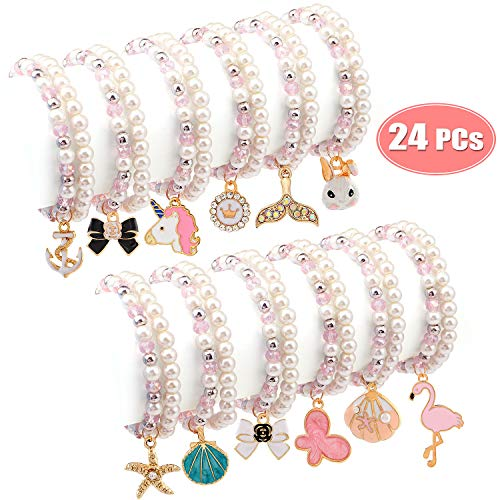 Teen Mermaid Costumes (Bascolor Bracelets for Teen Girls Pearl Pink Beaded Unicorn Animals Pendant Toddler Bracelets Crystal Party Favor Costume Kids Jewelry Princess Pretend Play Bracelets for)
