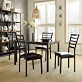 Cheap Darcy II Faux Marble Top Black Metal 5-piece Casual Dining Set