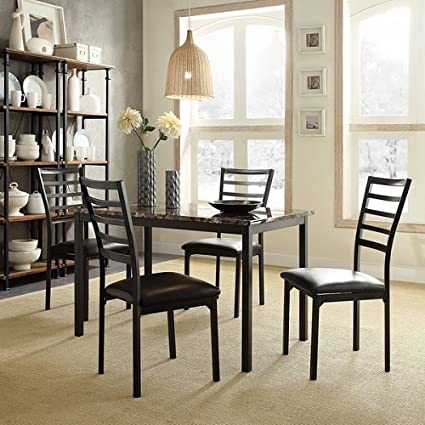 Darcy II Faux Marble Top Black Metal 5 Piece Casual Dining Set