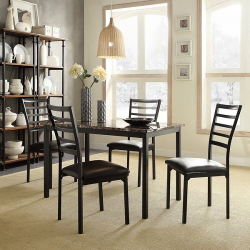 Darcy II Faux Marble Top Black Metal 5-piece Casual Dining Set
