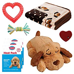 SmartPetLove Snuggle Puppy Heartbeat Stuffed Toy – Pet Anxiety Relief and Calming Aid – Biscuit – New Puppy Starter Kit…
