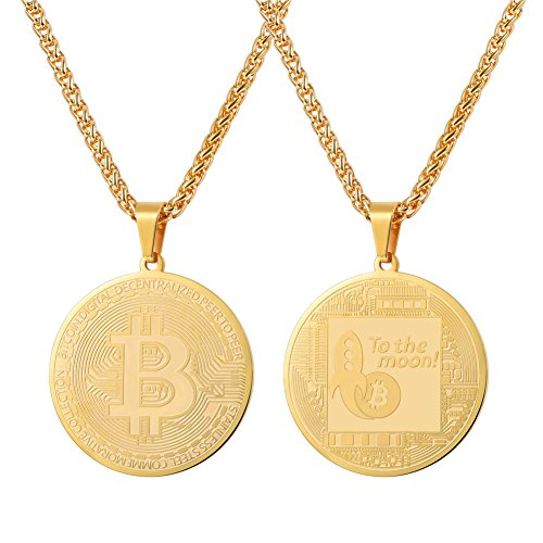 U7 Coin Medal Pendant Stainless Steel 18K Gold Plated Bitcoin Jewelry Digital Cryptocurrency Blockchain Bitcoin Necklaces (Gold Coin Memorial)