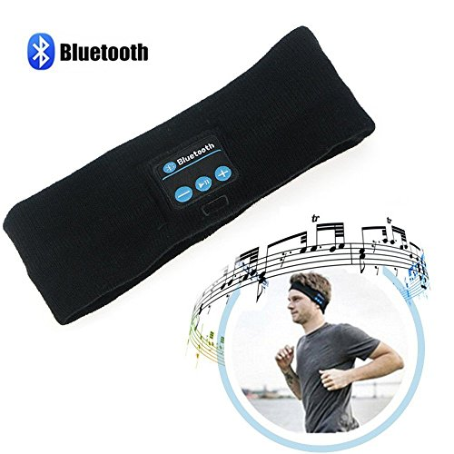 Bluetooth Sports Headband,Wireless Headphone Earphone Stereo Speakers Mic for Gym Fitness Exercise Outdoor Sport, Compatible with iPhone Android Smart Phones,Black