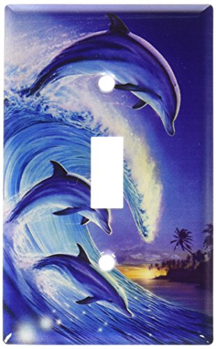 Art Plates - Dolphins in the Wave Switch Plate - Single Toggle (Dolphin Switchplate)