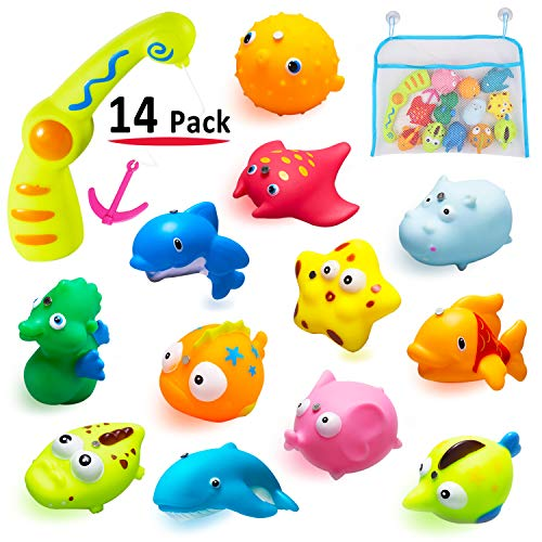 MAPIXO Children Kids Baby Fishing Bath Toy, 12 Sea Characters and A Magnetic Fishing Rod with A Mesh Bag Storing Toys, Bath Water Toys