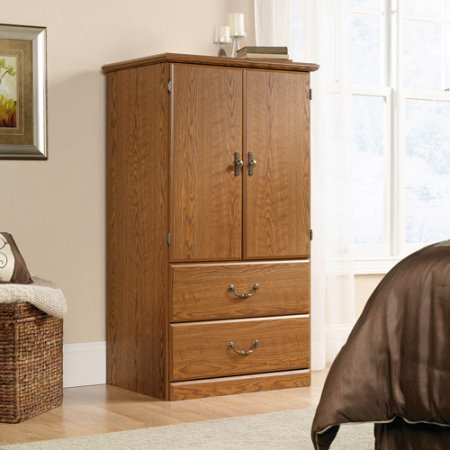Orchard Hills Armoire, Carolina Oak, Two Adjustable Shelves Behind Doors Provide Versatile Storage Options, Metal Runners and Safety Stops, Decorative Hardware, Sturdy Engineered Wood + Expert Guide - Hill Armoire