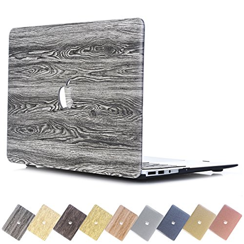 (PapyHall MacBook Air 12 inch Case, Creative Wood Grain Macbook [Full Body Protective] Plastic Hard Case for Apple Macbook Air 12 inch Retina Display : A1534 - Dark Gray Wood)