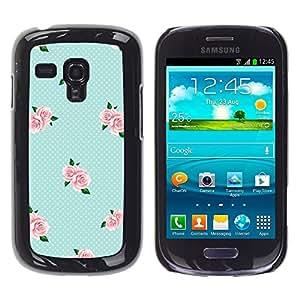 TopCaseStore / la caja del caucho duro de la cubierta de protección de la piel - Pink Baby Blue Roses - Samsung Galaxy S3 MINI NOT REGULAR! I8190 I8190N