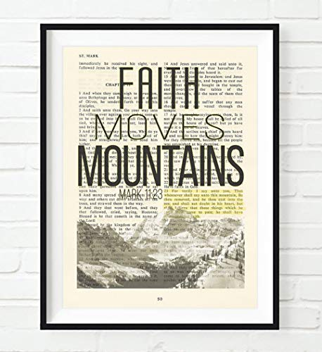 Vintage Bible Upcycled page verse scripture Faith Moves Mountains Mark 11:23 Christian ART PRINT, UNFRAMED, dictionary wall & home decor poster, Inspirational gift