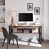 """AMOAK Computer Desk 47"""" with Bookshelf, Office Desk, Writing Desk, Wood and Metal Frame, 1.18in (3cm) Thickened Desktop, Industrial Style, Study Table for Home Office, Retro Brown"""