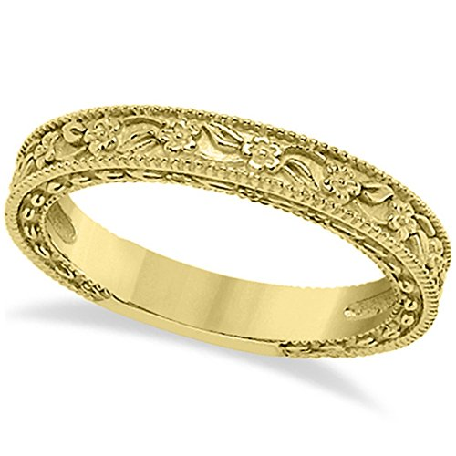 - Carved Floral Designed Wedding Band Stackable Anniversary Ring in 18K Yellow Gold