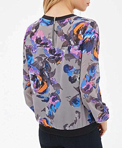 Femme Blouses avec Sweat Longues Zippe Shirts Haut Shirts Digital Legendaryman Manches Fashion Gris Print Chemisiers Col Casual Tops Rond f5wdCqx