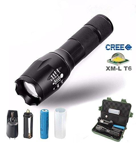 Linterna LED con Batería 18650 Cargador Ultrastyle Linterna Táctica CREE T6 LED Flashlight con 5 Modos Resistente al Agua