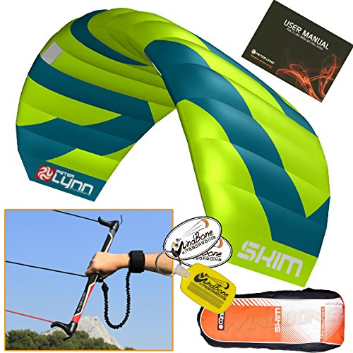 Peter Lynn Skim 3.4M 3-Line Water Relaunchable Trainer Kite Control Bar Bundle + WindBone Key Chain + Stickers - Kitesurfing Kiteboarding Power Foil Traction Kiting
