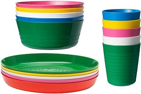 IKEA KALAS Juego de 6 vasos y 6 cuencos para niños, multicolor