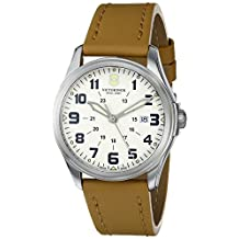 "Victorinox Swiss Army Unisex 241581 ""Infantry"" Stainless Steel Watch with Beige Leather Band"