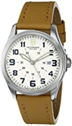 "Victorinox Unisex 241581 ""Infantry"" Stainless Steel Watch with Beige Leather Band"