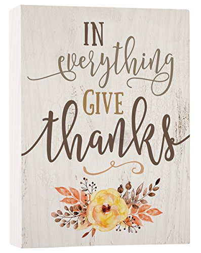 P. GRAHAM DUNN in Everything Give Thanks Floral Whitewash 7.5 x 5.5 Solid Wood Barnhouse Block Sign (Give Thanks Blocks)