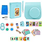 Fujifilm Instax Mini 9 - Camera Accessories Bundle 16 Piece Kit Includes: Ice Blue Protective Case + Strap, Photo Albums, Keychain, 60 Stickers, Hanging Frames, Selfie Lens, Gift Box