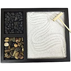 Deluxe Wooden Zen Sand Garden with 2 Types of Rocks, Sand, and Rake